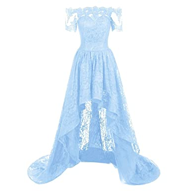 KSDN Hi Lo Lace Gothic Prom Dresses Off Shoulder Short Sleeves Evening Party Gowns (US