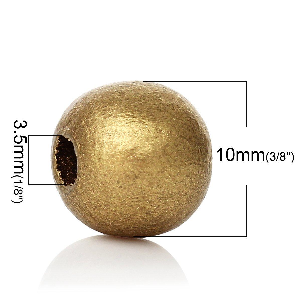 SiAura Material 500 St/ück Holzperlen 10mm mit 3,5mm Loch Goldfarben zum Basteln Rund