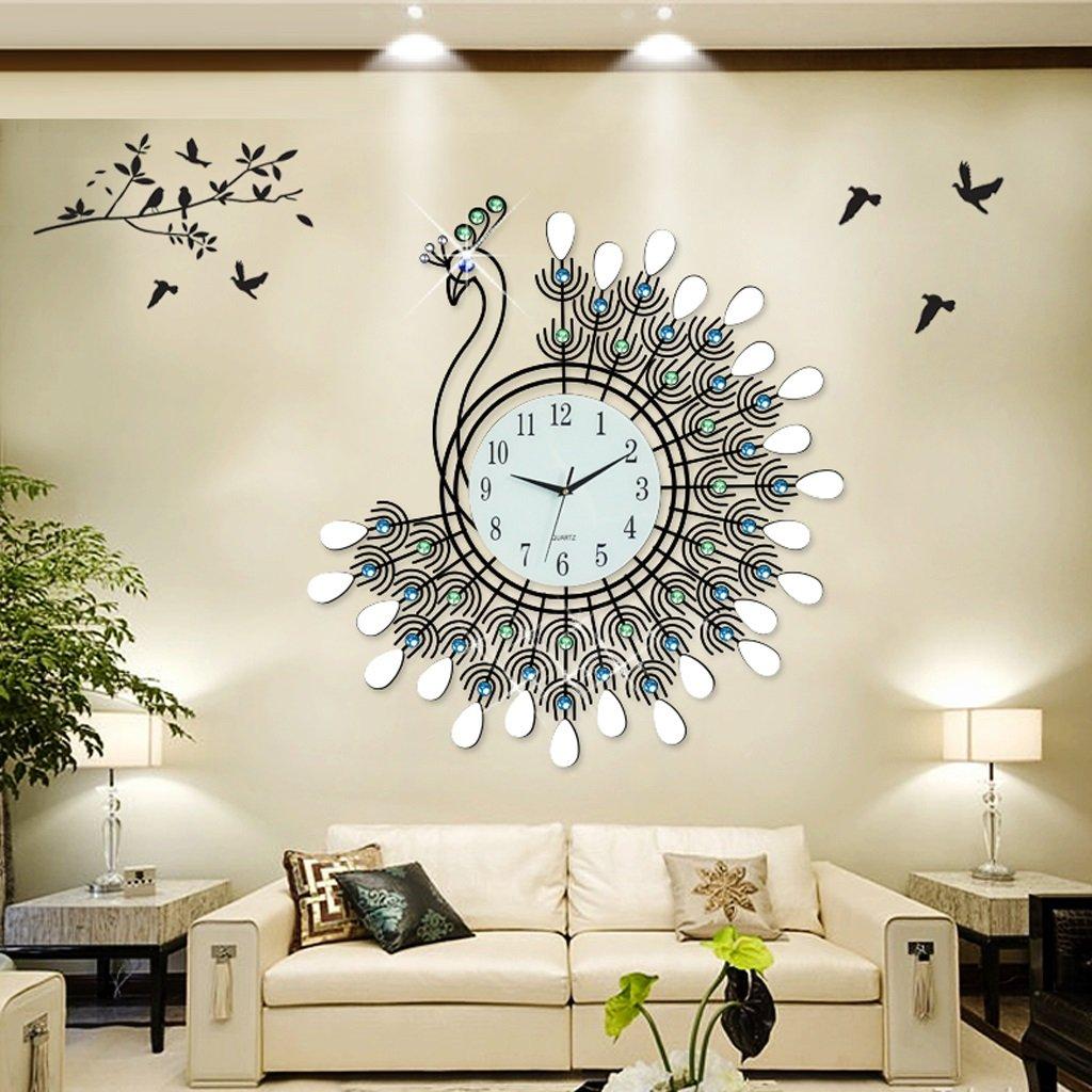 掛け時計 26インチのピーコックウォールクロックヨーロッパの時計と腕時計居間掛け時計ミュートクォーツウォールクロック安定時間精度クロック (色 : Normal) B07DRG7L86Normal