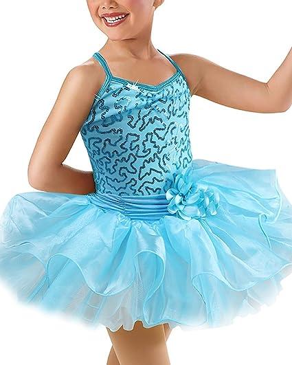 Kid Girls Flower Sequins Ballet Dancewear Gymnastic Camisole Leotard Tutu  Skirted Ballerina Dress Blue 2- ee7c1c45a952