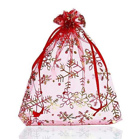 Amazon.com: 25pcs roja copo de nieve bolsas de regalo bolsas ...