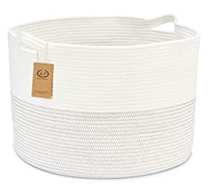 XXXL Cotton Rope Baskets 22 x 14 inches, Jumbo Woven Laundry Blanket Basket with Handles, Large Storage Baskets for Blanket Towels Pillow Clothes, Round Baby Dogs Toy Bins in Living Room Bedroom