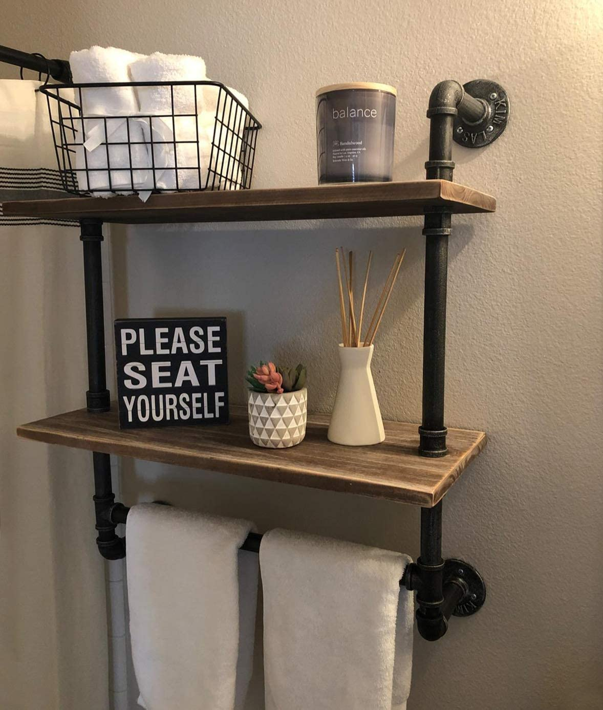 Industrial Pipe Shelf,Rustic Wall Shelf with Towel Bar,20 Towel Racks for Bathroom,2 Tiered Pipe Shelves Wood Shelf Shelving