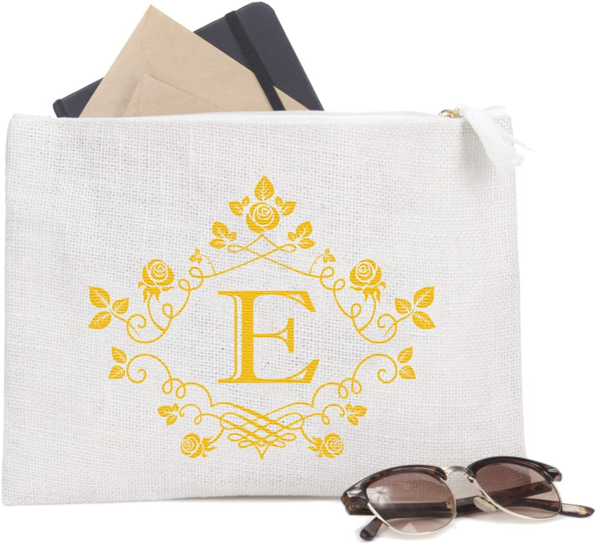ElegantPark E Initial Monogram Personalized Travel Makeup Cosmetic Bag Jute Clutch Pouch Gifts with Zipper