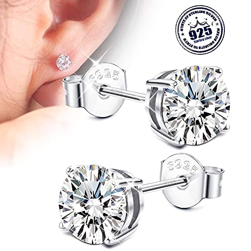df4f26b3e Amazon.com: Sllaiss 925 Sterling Silver Cubic Zirconia Stud Earrings for  Women Girls with Brilliance Set with Zirconia from Swarovski: Jewelry