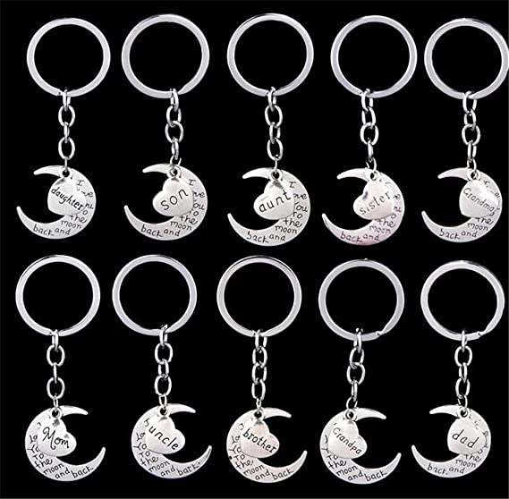 Moon Keyring,Moon Jewelry Gift for her him,Gray Full Moon Keychain A little little love Luna Key Ring Space Key Chain,Grey Moon Pendant,Gift idea Moon Art