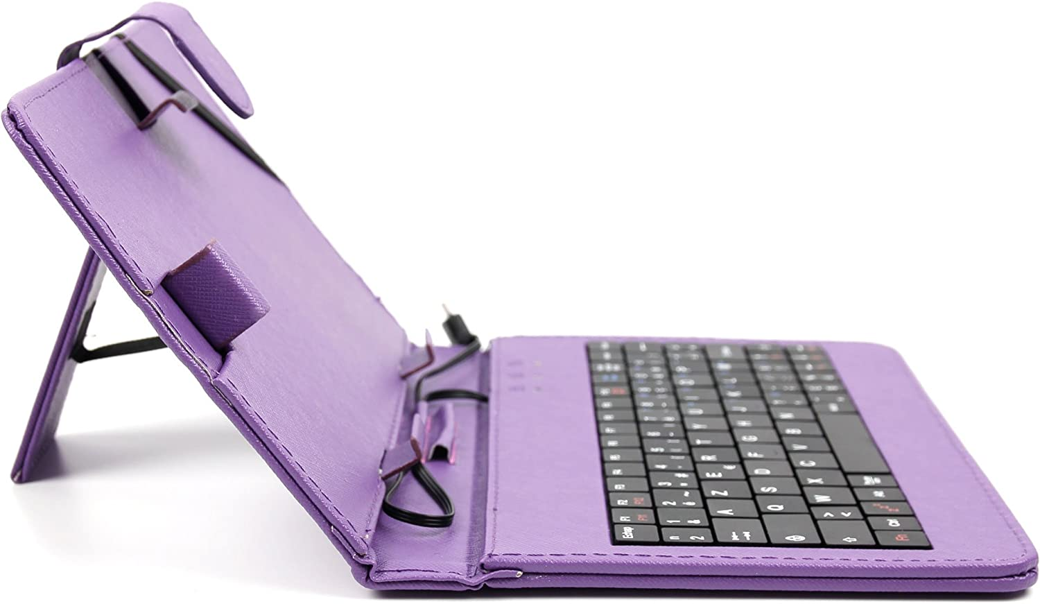 Built-in Stand /& Matching Stylus Pen with Micro USB Connection DURAGADGET Deluxe AZERTY French Keyboard Folio Case in Purple for The New BLU Studio 7.0 Tablet