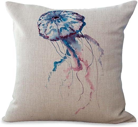 Amazon Com Wholesalesarong Sea Life Marine Jellyfish Ocean Animal Cushion Cover Decorative Throws And Pillows Home Kitchen