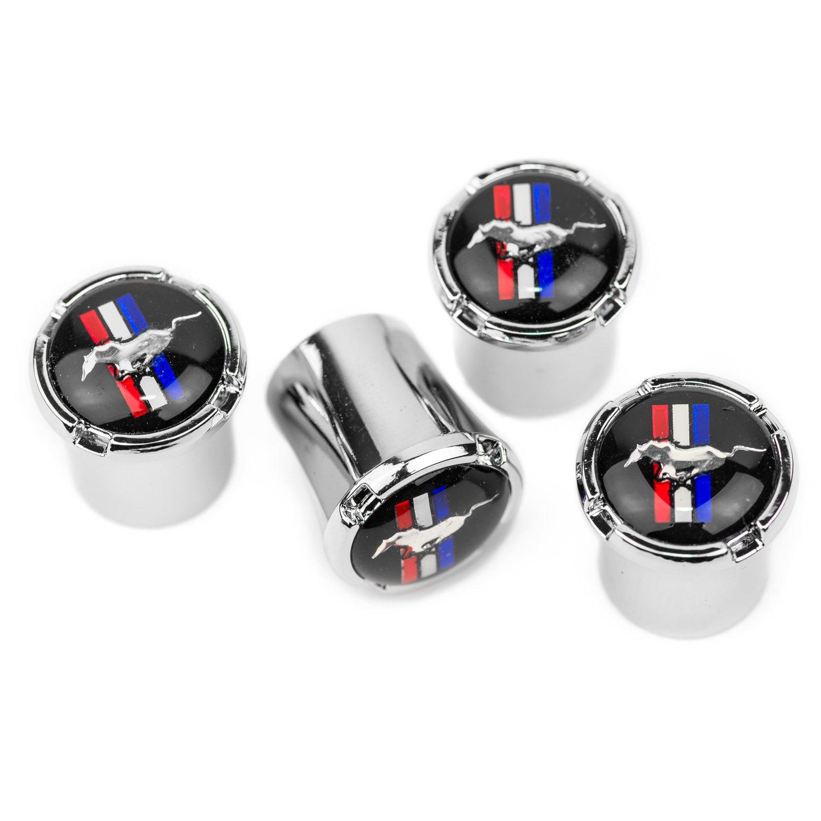 Ford Mustang Horse & Bar Chrome Tire Valve Stem Caps - Made IN USA