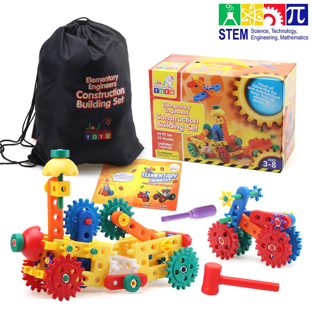 Engineering Construction Toy Set | 62 PC Gear and Building Block Set That Promotes STEM Learning, Educational Toys for Kids Ages 3, 4, 5+