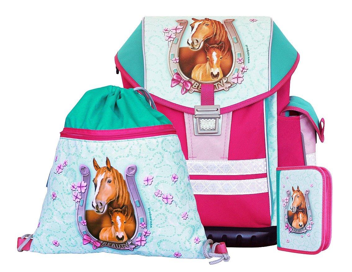 Zauberhafte Schultasche  Beauty Horses  mit Federmäppchen und Turnbeutel