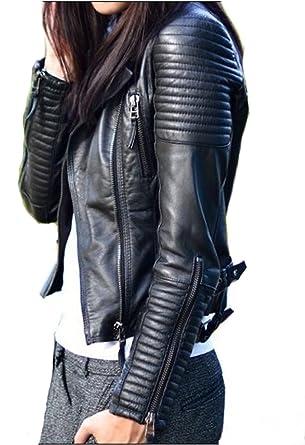 Veste cuir noir femme 2018