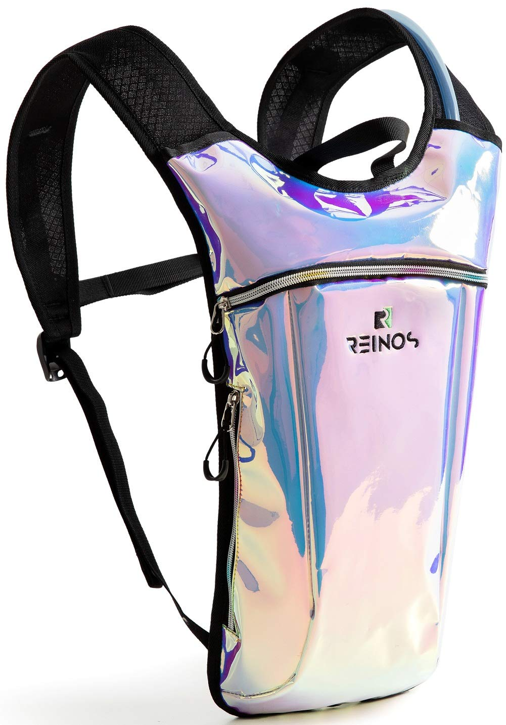 REINOS Hydration Backpack - Light Water Pack - 2L Water Bladder Included for Running, Hiking, Biking, Festivals, Raves (Holographic - Blue) by REINOS