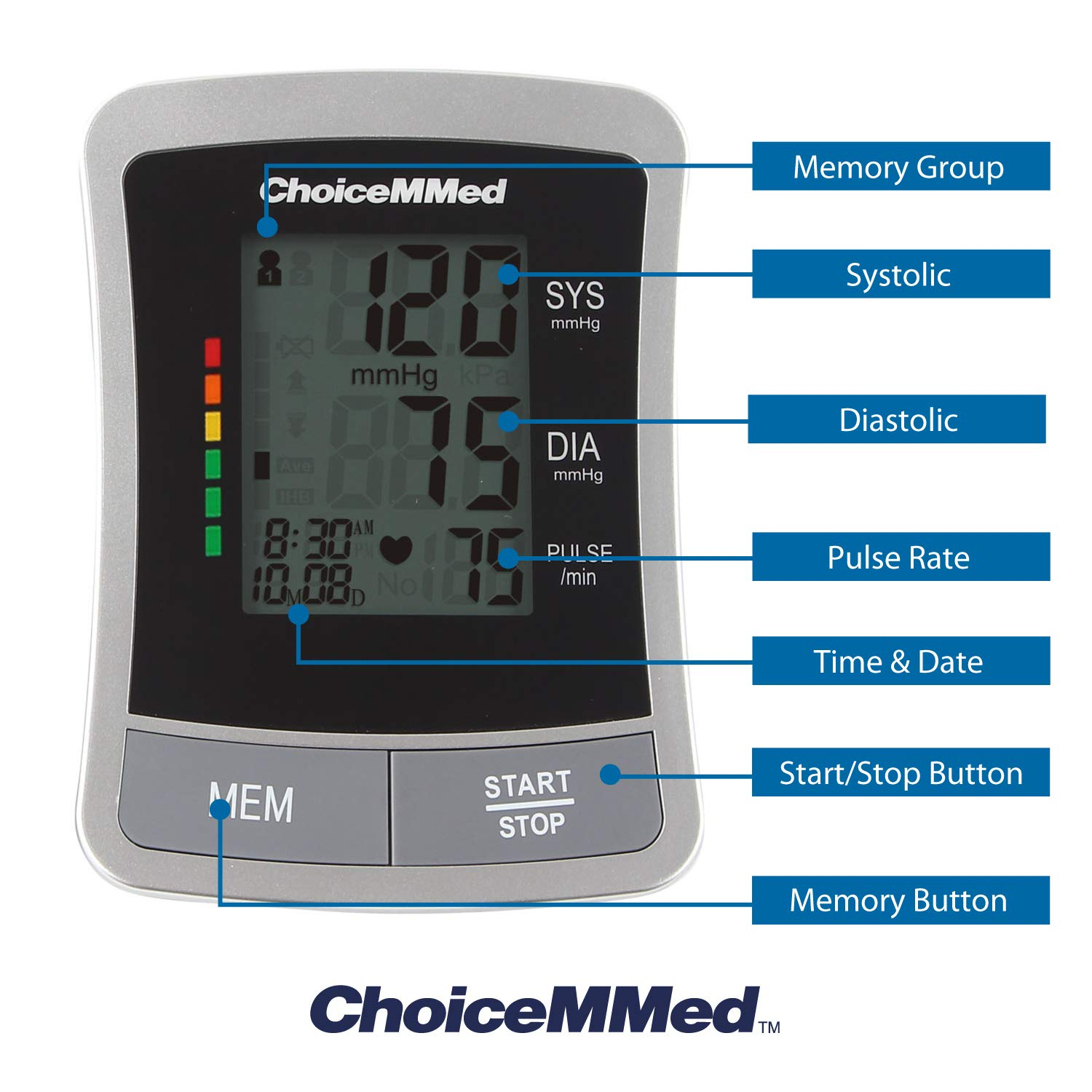 ChoiceMMed Blood Pressure Monitor – Standard BP Cuff Meter with Display – Standard Size Blood Pressure Machine 8.6 -14.2 – Blood Pressure Tester with Carrying Bag – Blood Pressure Gauge with Memory