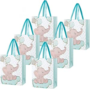 Hasken 24 Pack Elephant Gift Bag Party Bags Baby Shower Gift Bag Birthday Party Favor Bags Treat Bags Goodie Bags for Kids Animal Theme Party Supplies,Blue