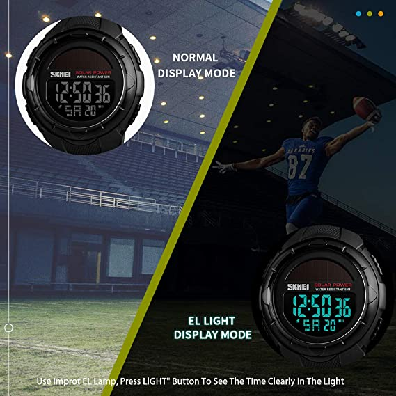 Amazon.com: Mens Solar Digital Sports Watch, 50M Waterproof Military Outdoor Watches Black Large Face with Stopwatch Alarm Shock Resistant LED: SKMEI: ...