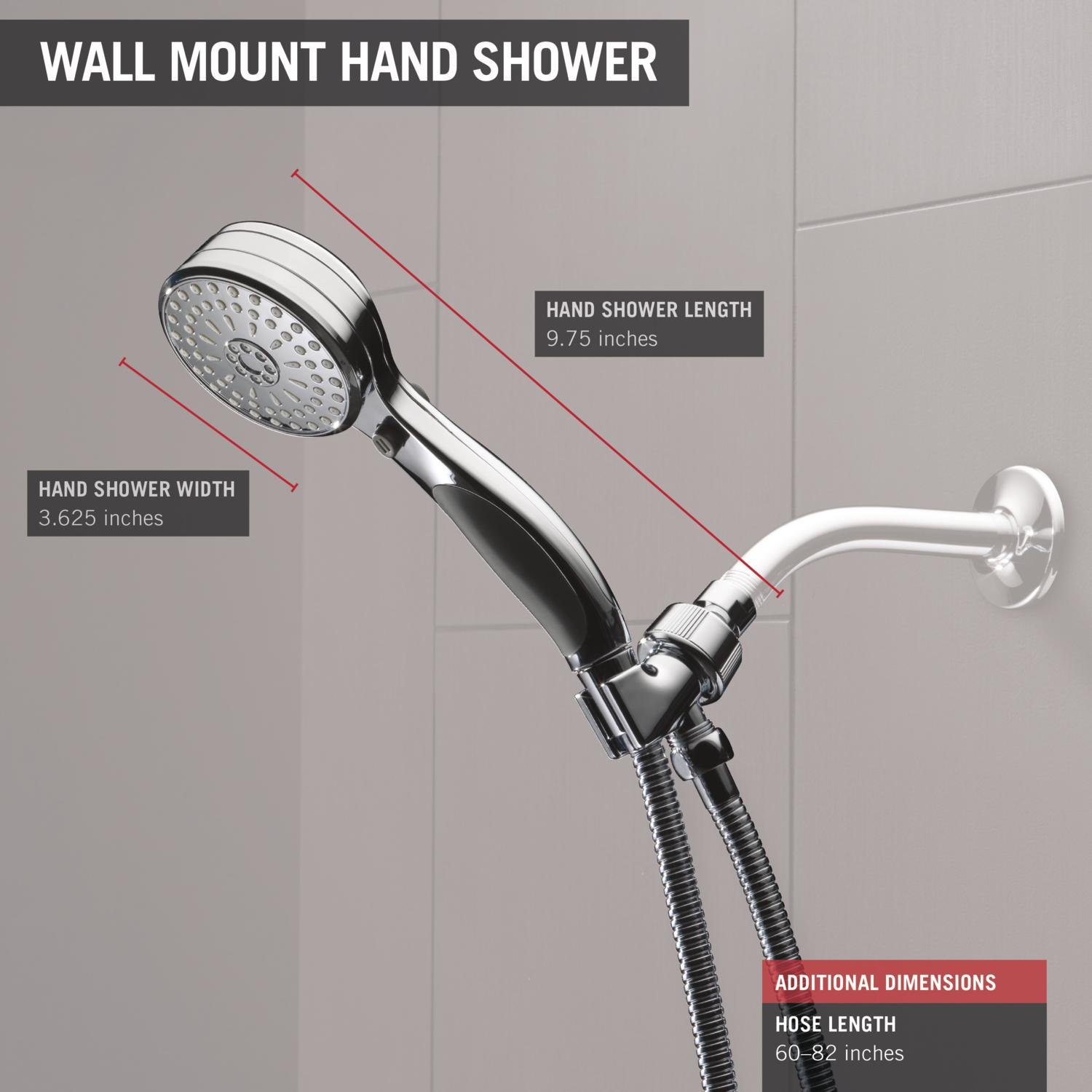 Delta Faucet 54424-PK Shower Mount Hand Shower, Chrome - Tub And ...