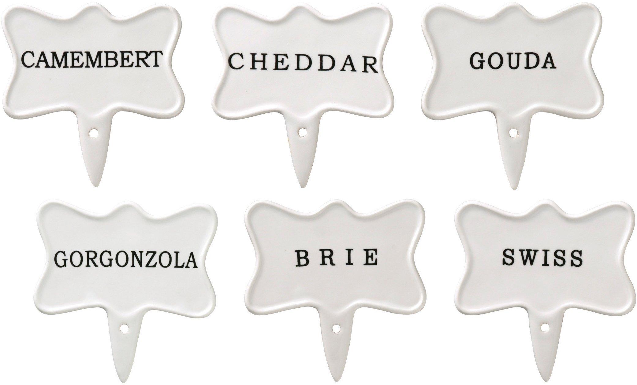 Hamptons 6 Piece Earthenware Cheese Marker Serving Set