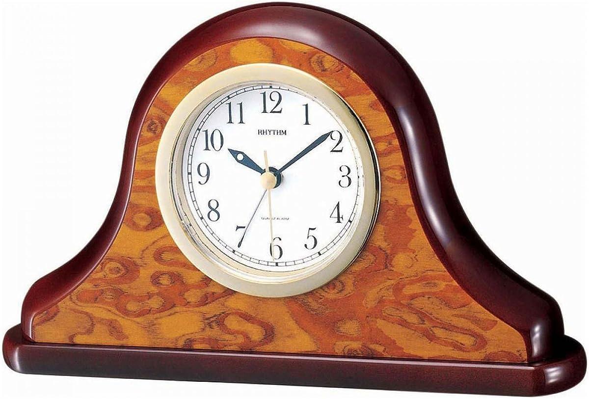 Rhythm 70202 Despertador con estilo en carcasa de Madera, acabado de madera de brezo