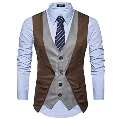 Abetteric Mens Collision Color Button Down Fake Two Suit Waistcoat Vest