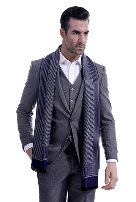 ef1f2f08b70d7 Men Feels-Like Cashmere Scarf Long Stripe Neckerchief Men Reversible  Checked Scarf for Autumn Winter Blue: Amazon.ca: Luggage & Bags