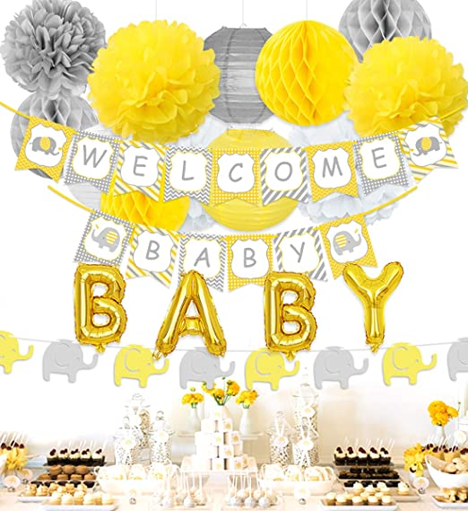 Decoraciones de Baby Shower de elefante Decoraciones de fiesta neutrales con pancarta de bienvenida amarilla y gris, guirnalda de elefante, globos de papel de bebé: Amazon.es: Hogar