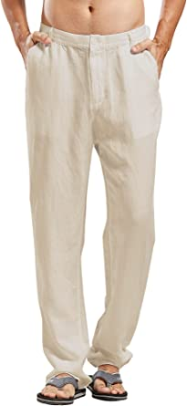 Amazon Com Chartou Pantalones De Playa De Lino Para Hombre Clothing
