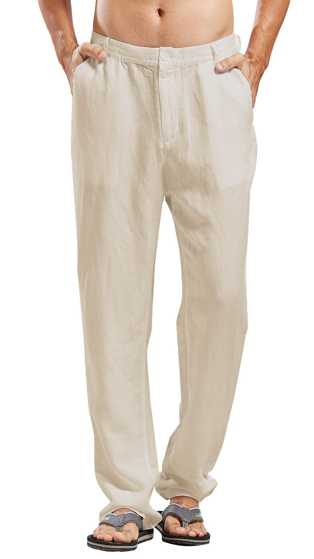 Chartou Man's Summer Casual Stretched Waist Loose Fit Linen Beach Pants (X-Small, Beige)