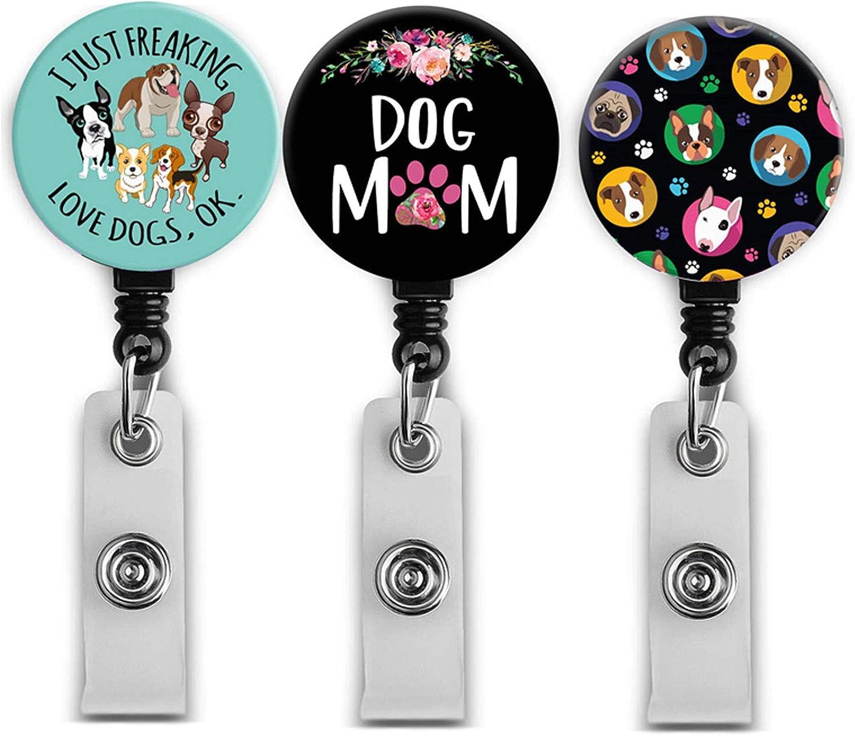 3 Pack Retractable Badge Holders, Lovely Dog Nurse Badge Reel, Badge Clip ID Card Holders (3pack Lovely Dog)