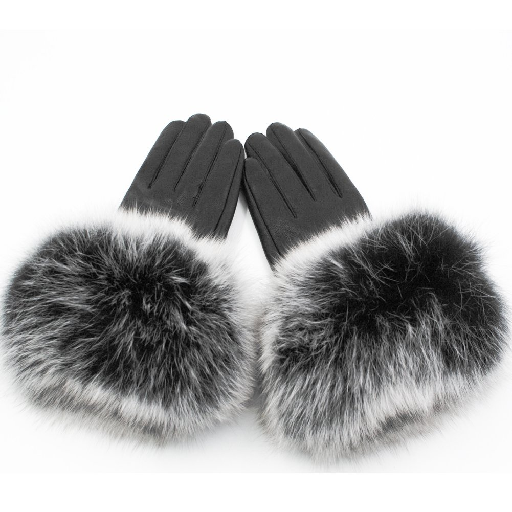 Yosang Women Genuine Lambskin Leather Winter Lined Gloves with Fox Fur Trim (M(6.7-7.1 in/17-18 cm), Black w/White & Black Fur)