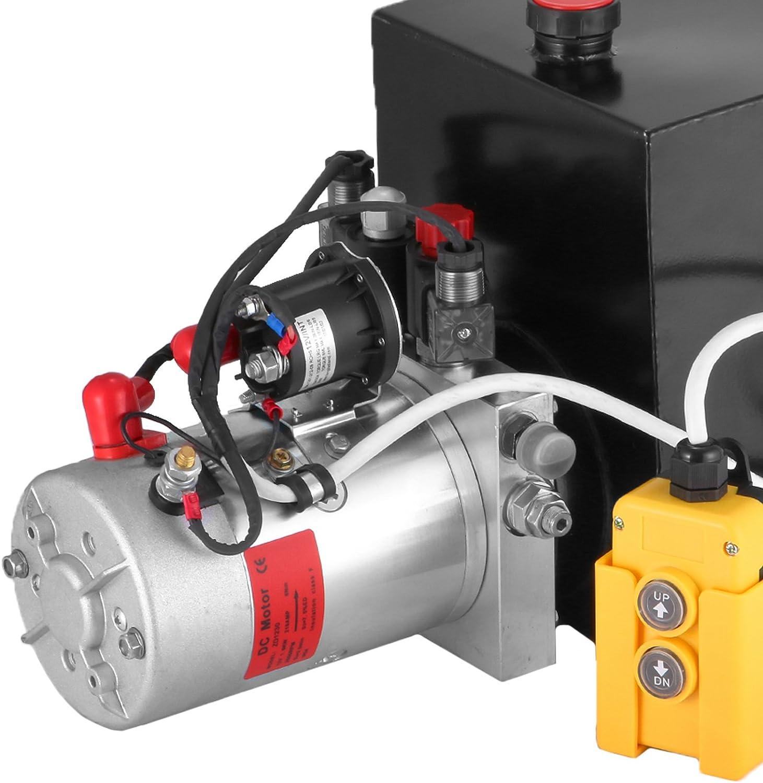 HODOY Pompa Idraulica Hydraulic Pump 12V DC Doppia Azione con Serbatoio dAcciaio per Elevatore 15L