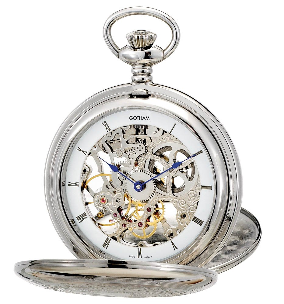 Gotham Men's Silver-Tone Double Cover Exhibition Mechanical Pocket Watch # GWC18800S by Gotham