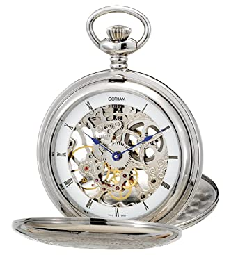 9b9c3a12a Amazon.com: Gotham Men's Silver-Tone Mechanical Pocket Watch with Desktop  Stand # GWC18800S-ST: Watches