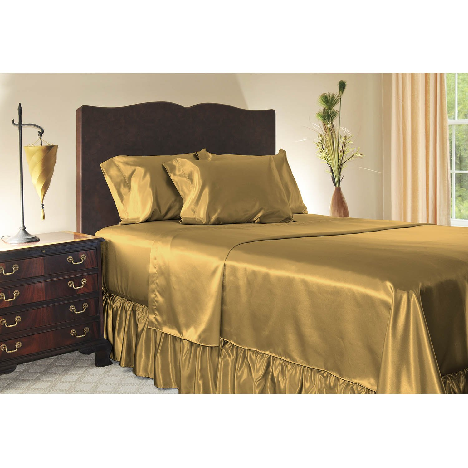 Luxury King Size Satin Flat Sheet - Gold by Shop Bedding