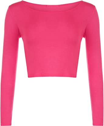 a58f961bf WearAll Women's Crop Long Sleeve Ladies Plain T-Shirt Top - Cerise - US 4