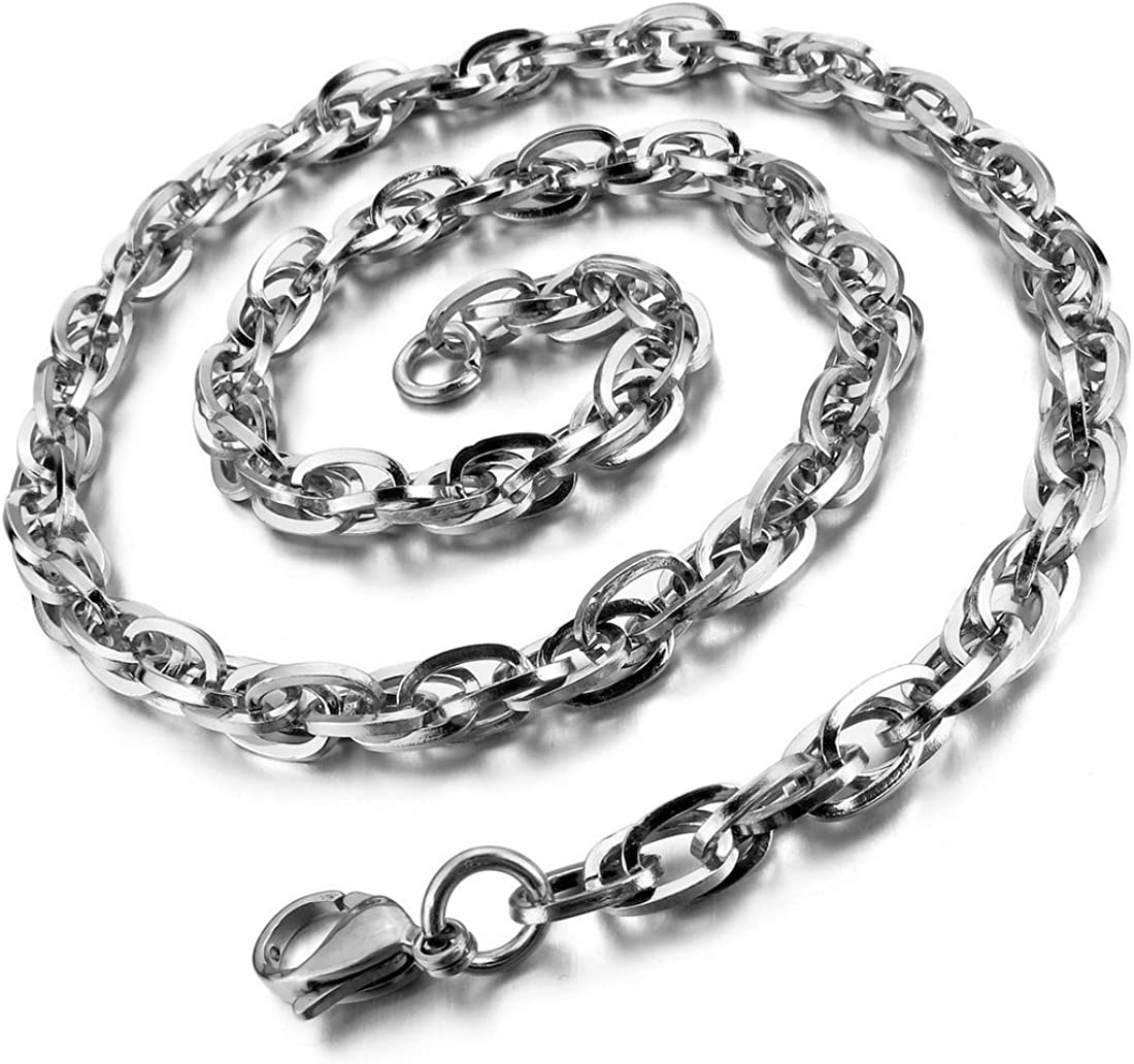 INBLUE Mens 3.5~8.0mm Wide Stainless Steel Necklace Curb Chain Link Black 14~40 Inch