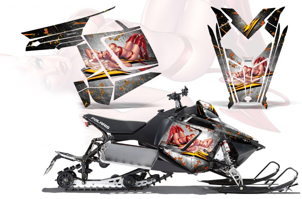 CreatorX Polaris Rush Pro RMK 600 / 800 SledスノーモービルグラフィックキットラップLittle Sinsホワイト   B00IKTOC4S