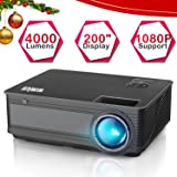"Projector, WiMiUS P18 4000 Lumens LED Projector Support 1080P 200"" Display 50,000H LED Compatible with Amazon Fire TV Stick Laptop iPhone Android Phone Xbox Via HDMI USB VGA AV Black"