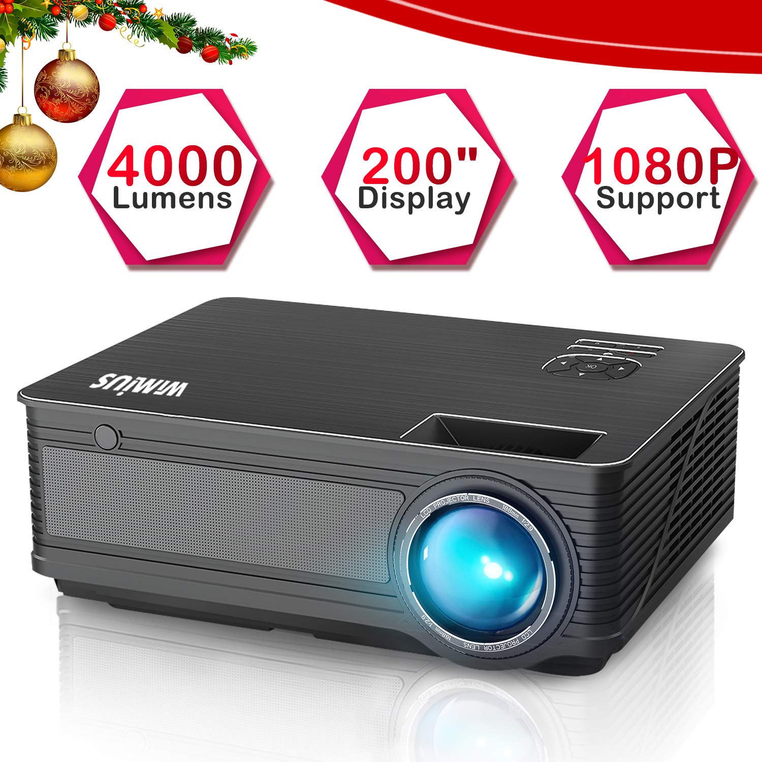 Projector, WiMiUS P18 4000 Lumens LED Projector Support 1080P 200'' Display 50,000H LED Compatible with Amazon Fire TV Stick Laptop iPhone Android Phone Xbox Via HDMI USB VGA AV Black