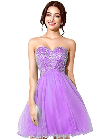 Clearbridal Womens Short Party Prom Dress A-Line Tulle Sweetheart Bridesmaid Gown with Sequines SD034