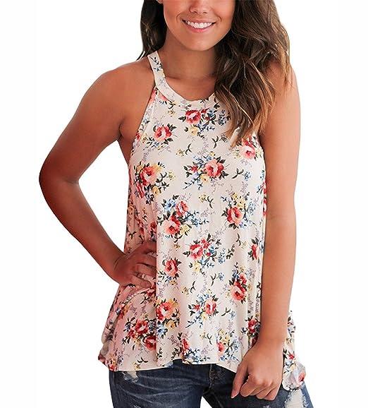 Sibylla Women High Neck Floral & Cactus Print Tank Top Sleeveless Casual  Vest T-Shirt
