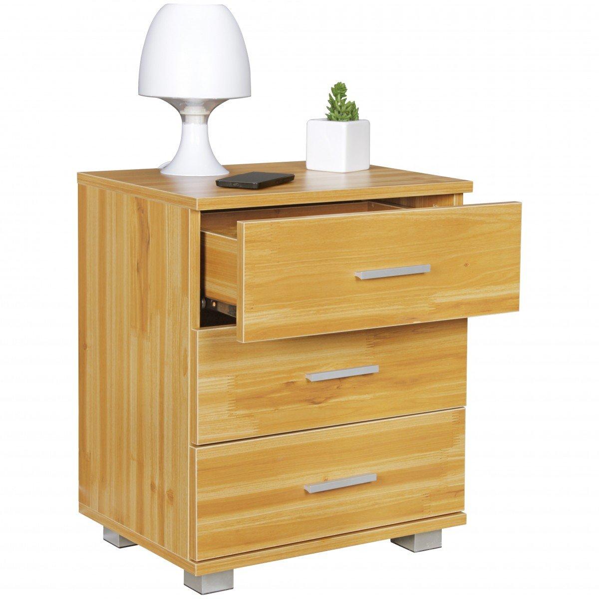 FineBuy Nachtkonsole TINA mit 3 Schubladen in Holz Buche Dekor ...