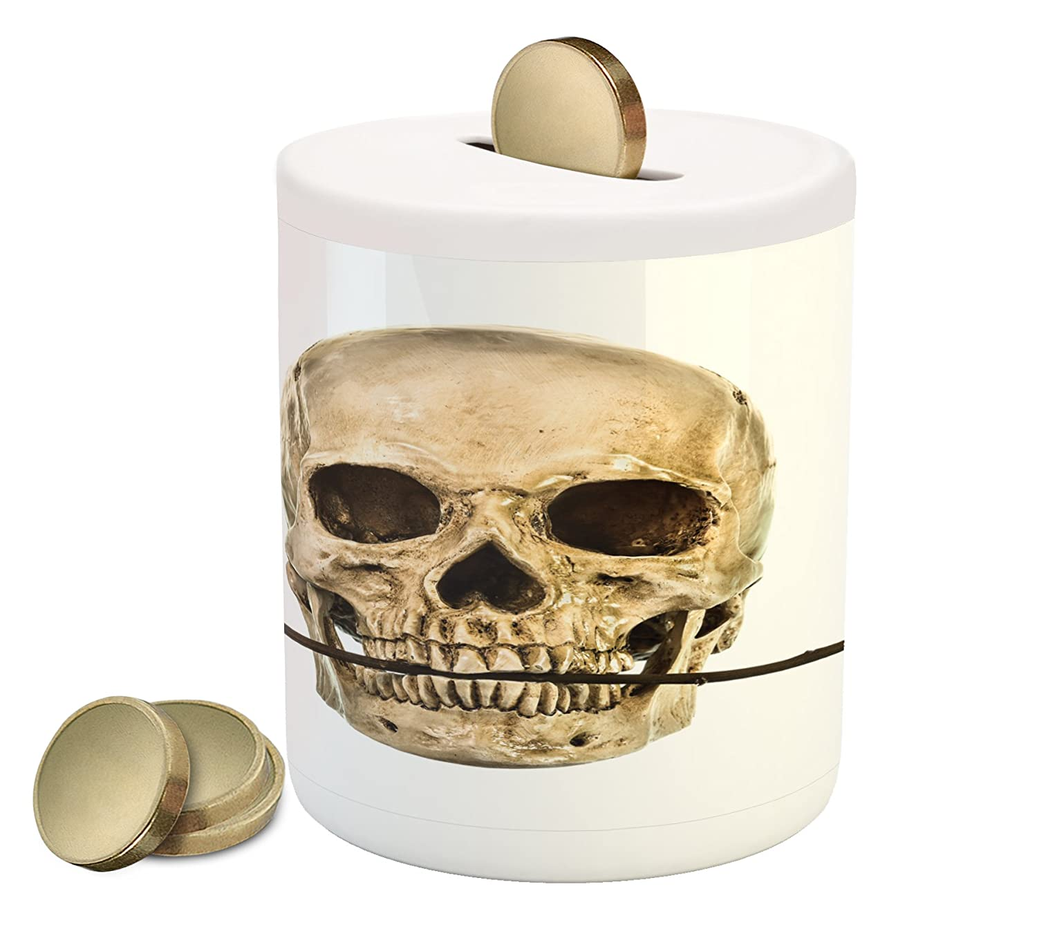 Amazon Lunarable Gothic Piggy Bank Skull With Dry Red Rose In