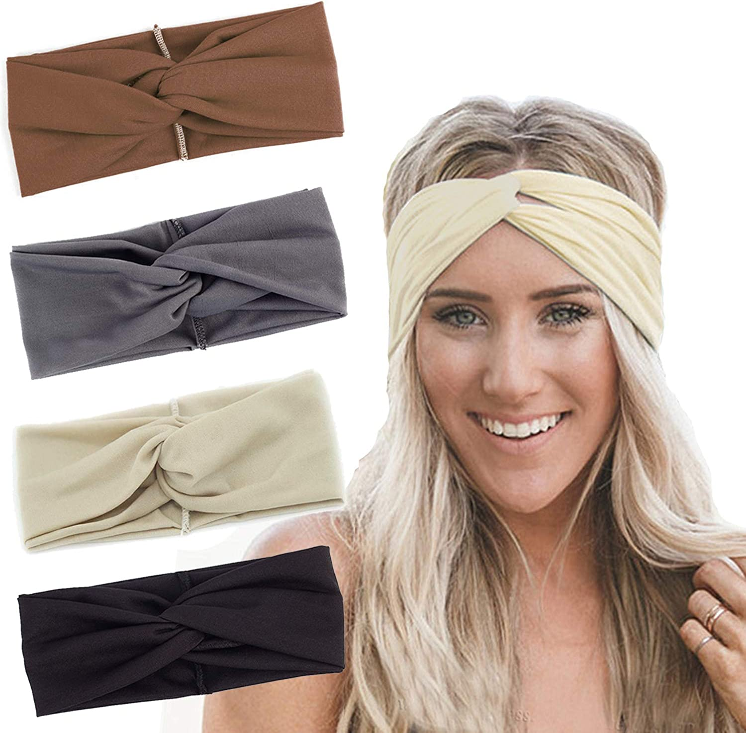 RIOSO Turban Headbands for Women Twisted Boho Headwrap Yoga Workout Sport Thick Head Bands(4 pack) at  Women's Clothing store