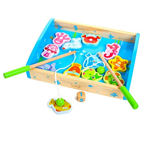 Rolimate 14 Piece Fishes Basic Educational Development Wooden Magnetic Bath Fishing Travel Table Game