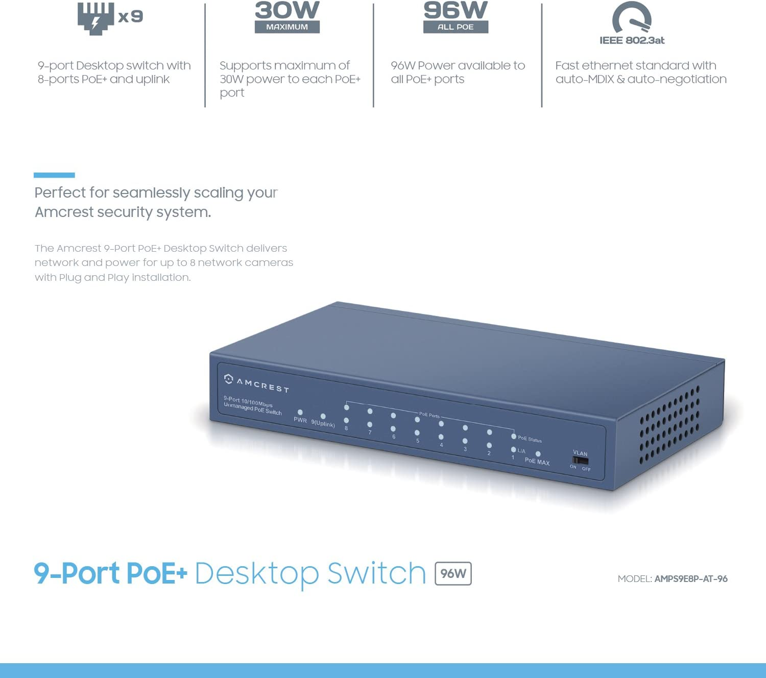Power Over Ethernet POE Switch with Metal Housing 802.3at 96w 8-Ports POE AMPS9E8P-AT-96 Amcrest 9-Port POE
