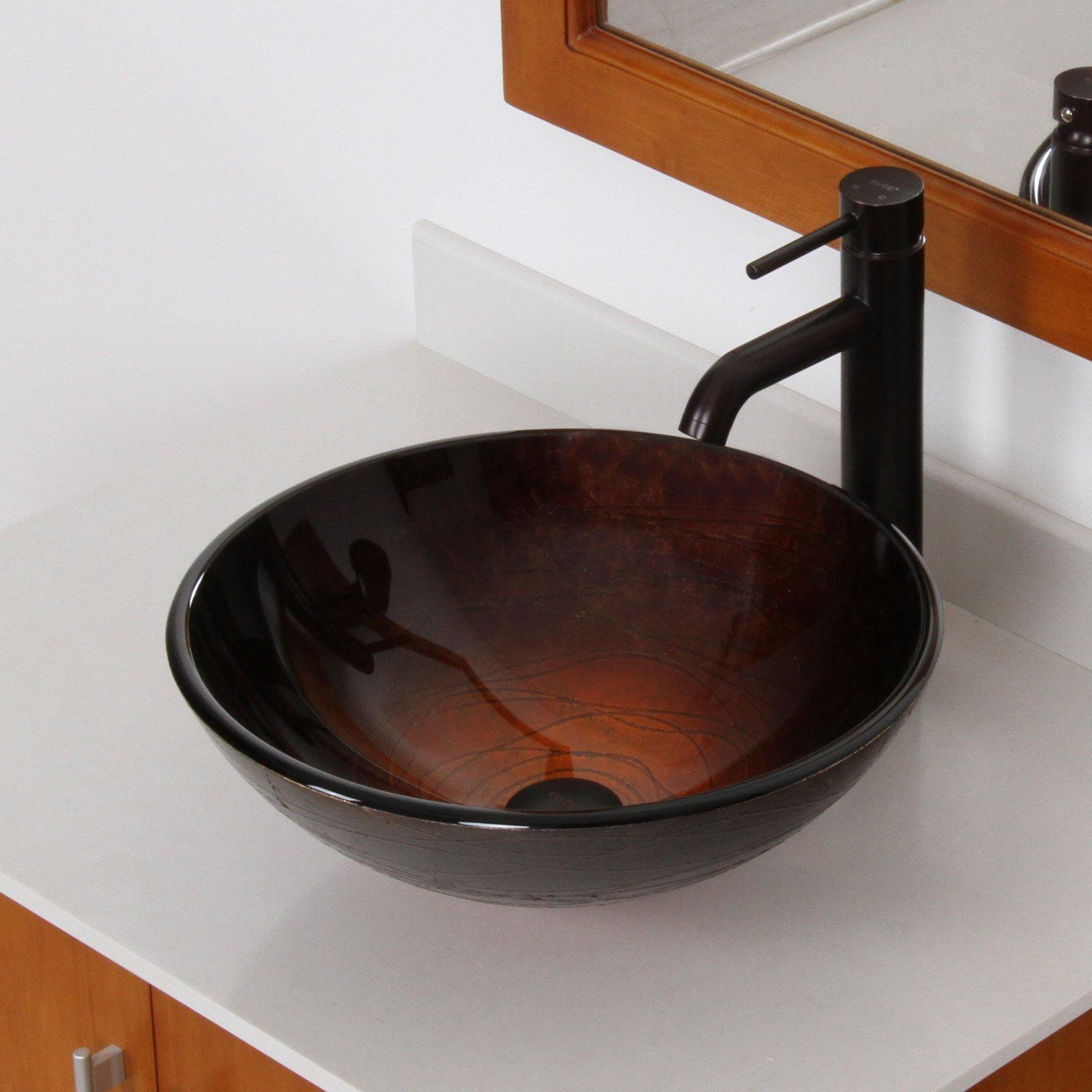 ELITE Tempered Bathroom Dark Style Glass Vessel Sink & Oil Rubbed Bronze Single Lever Faucet Combo
