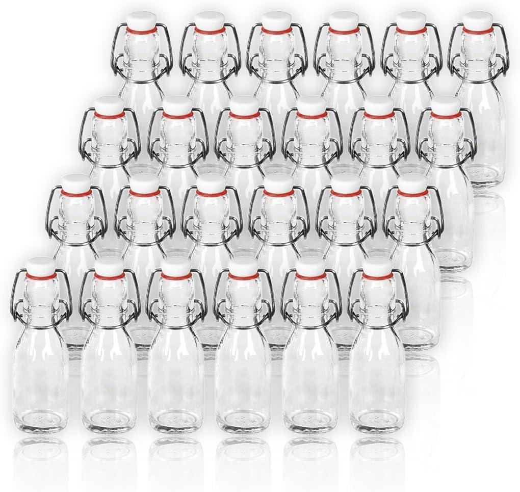24 Servicio/botellas de cristal con cierre de clip de botellas de porcelana 100 ml/10 cl botellas vacías de vidrio para llenar/tapón de botellas para ...