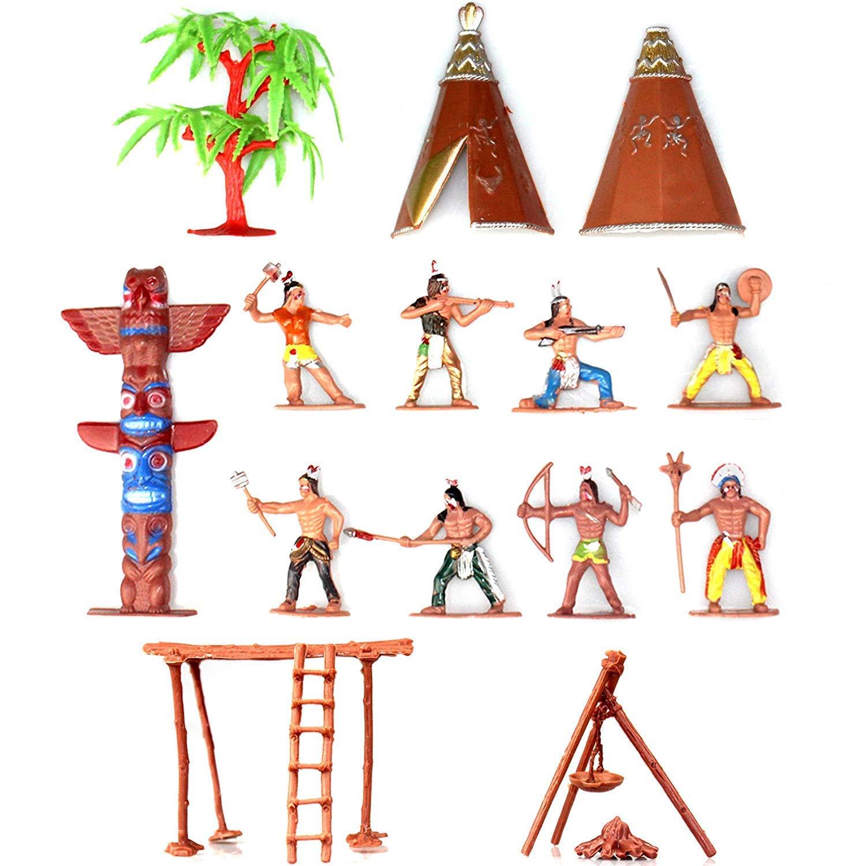 Musykrafties Indians Figures Plastic Toys Figurines Sandbox Miniature Aquarium Terrariums Fairy Gardens Doll House Cake Topper 13-Piece Set
