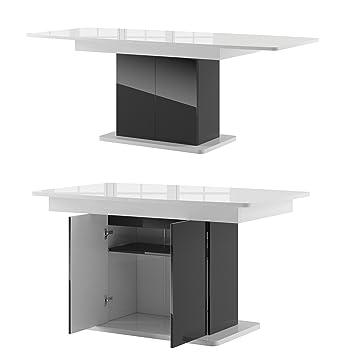 Esstisch ausziehbar schwarz  Tisch STAR Esstisch Säulentisch ausziehbar Hochganz (weiß hochglanz ...